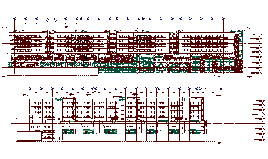 Director main building elevation view dwg file
