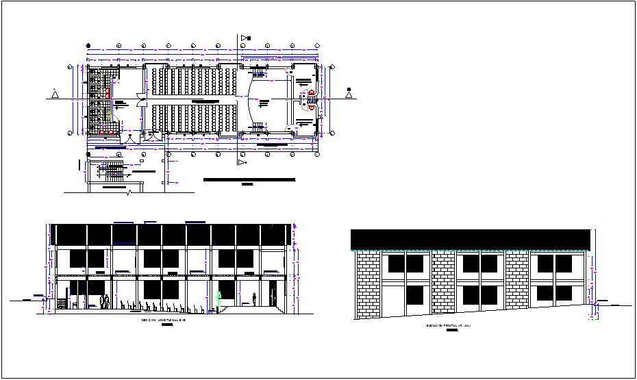Distribution plan of training room, sectional & elevation view dwg file