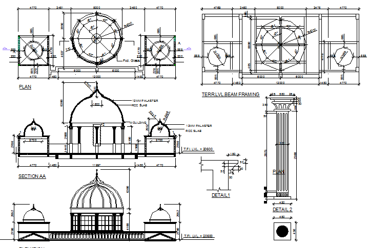 Dome construction details with section and elevation of mosque design dwg file