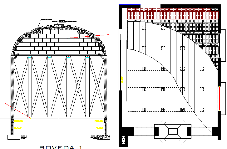 Domed vault construction form work wood and cement blocks dwg file