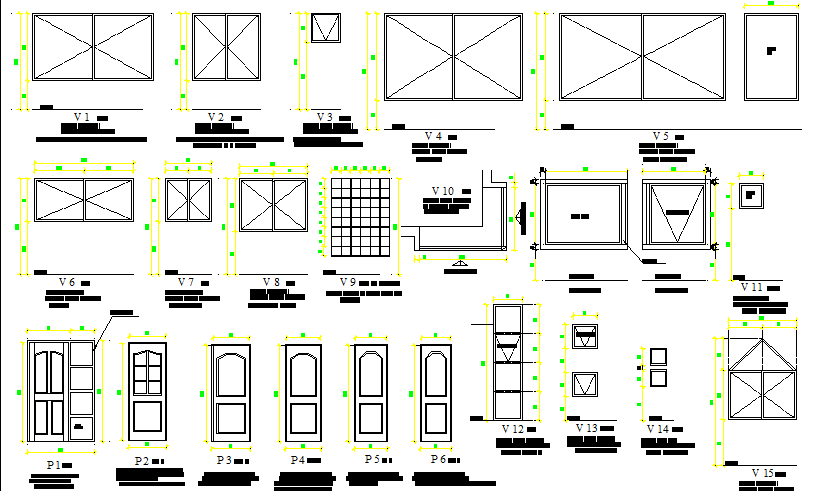 Door and window details of house dwg file