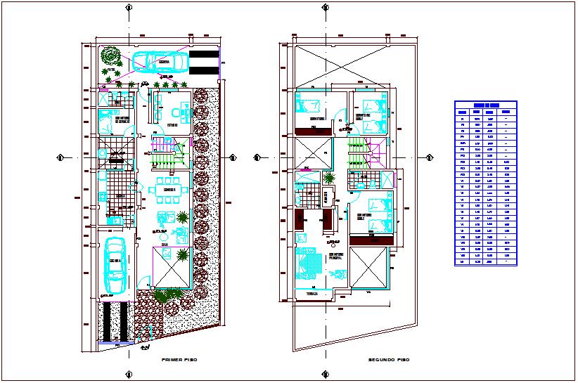 Door and window schedule view for single family floor plan dwg file