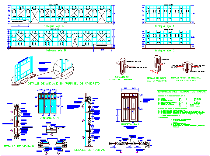 Door and window view with detail of multi pal use hall dwg file