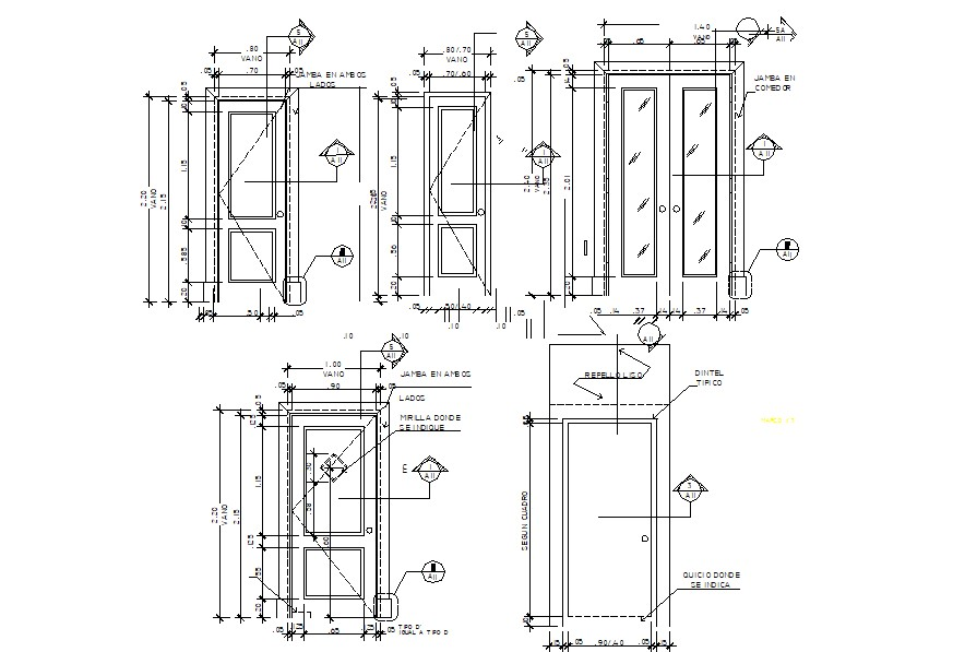 Door design drawing of with detail dimension in autocad