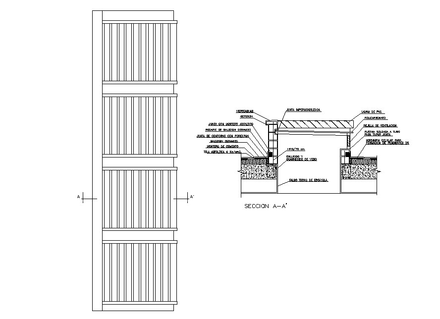 Door elevation, section and installation auto-cad details dwg file