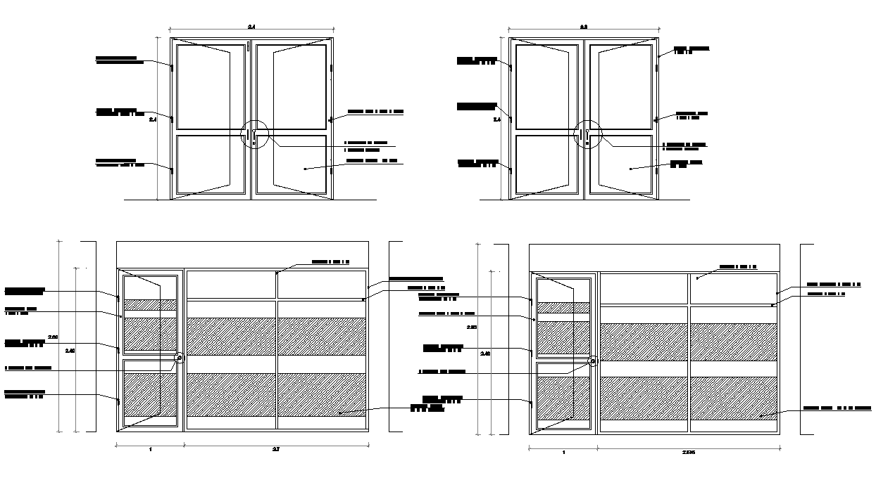 Door elevation and plan detail dwg file