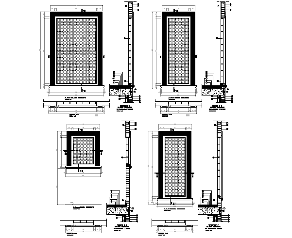 Door frame elevation and section detail dwg file
