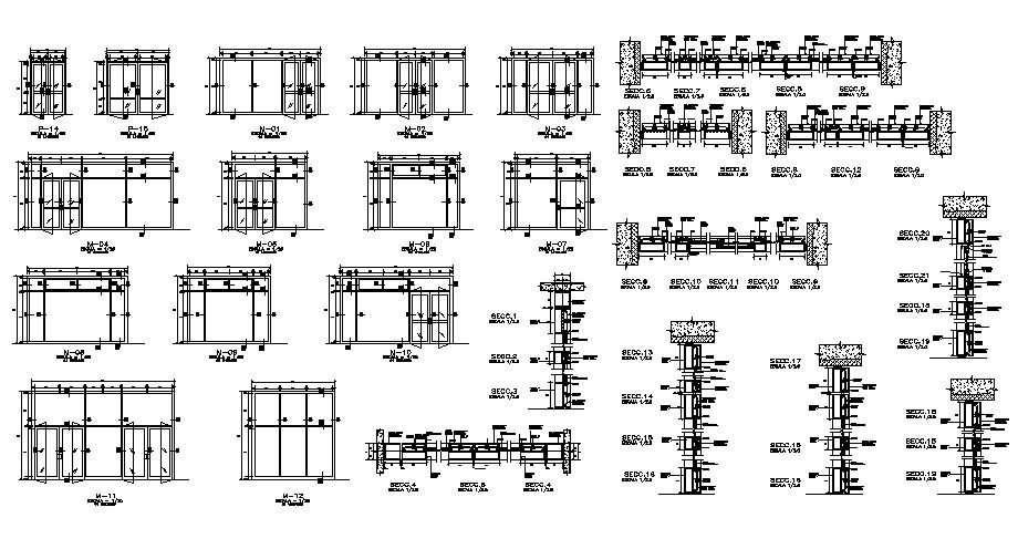 Door installation details of hotel building dwg file