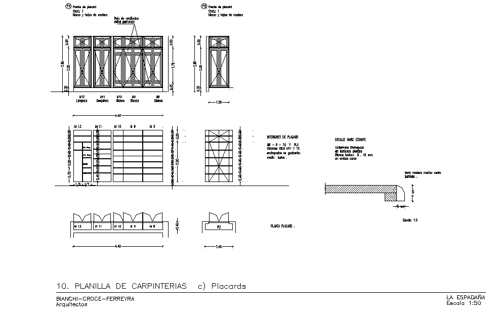 Door plan and elevation detail dwg file