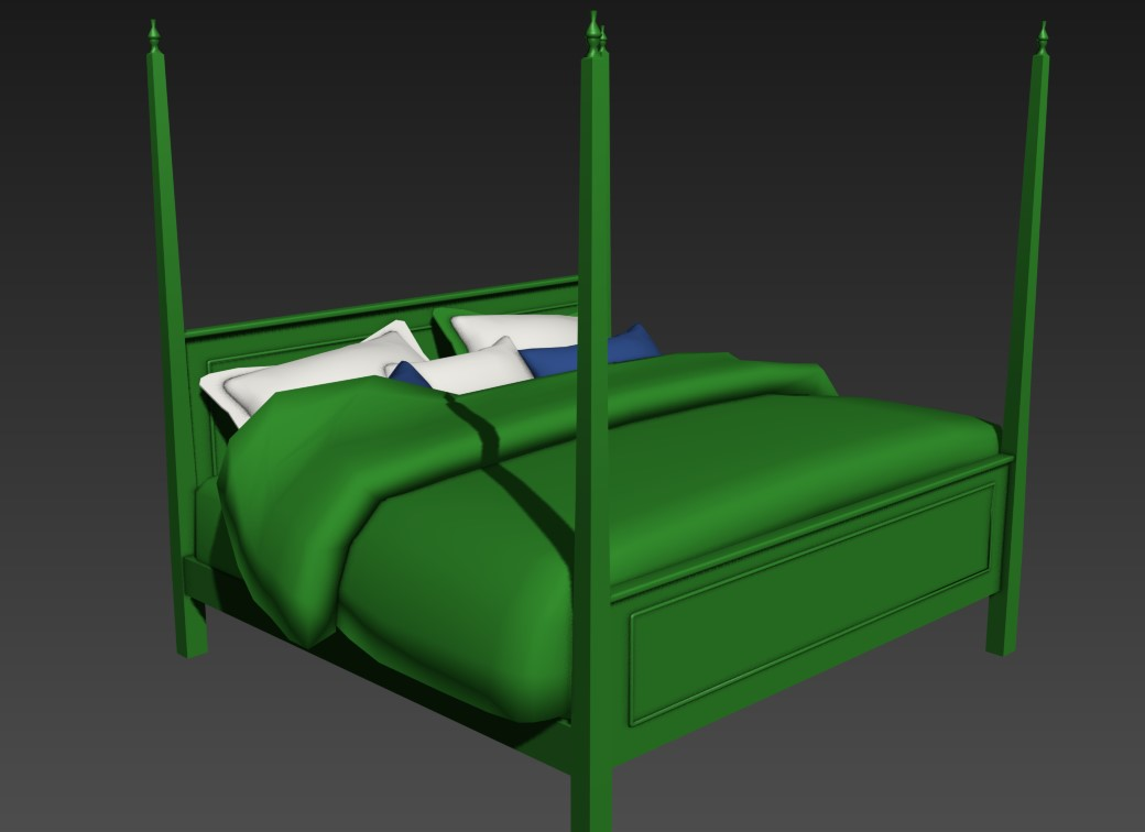Double bed elevation 3d model cad drawing details max file