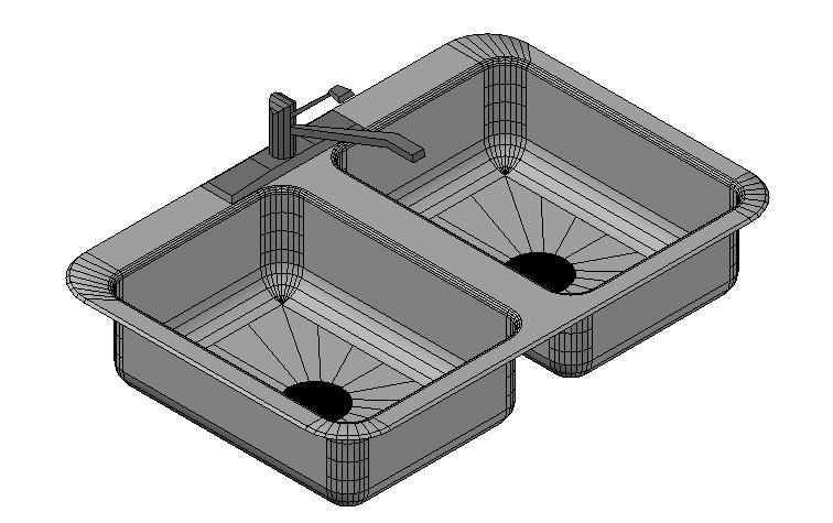 Double bowl sink 3d details