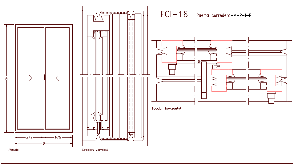 Double door design view with horizontal and vertical section dwg file