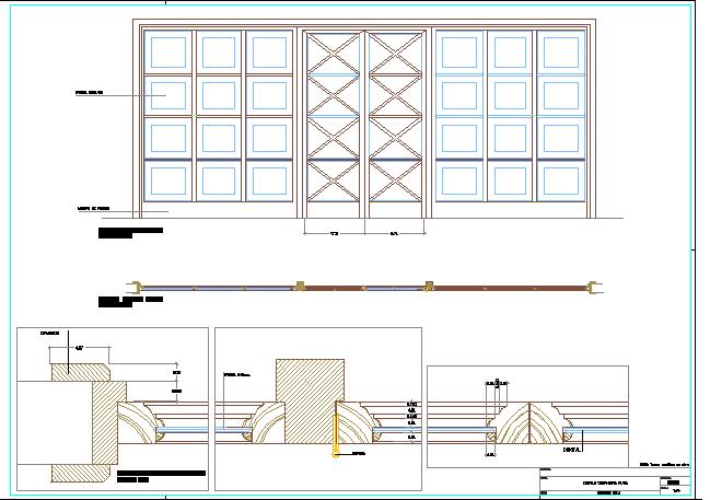 Double door installation details dwg file