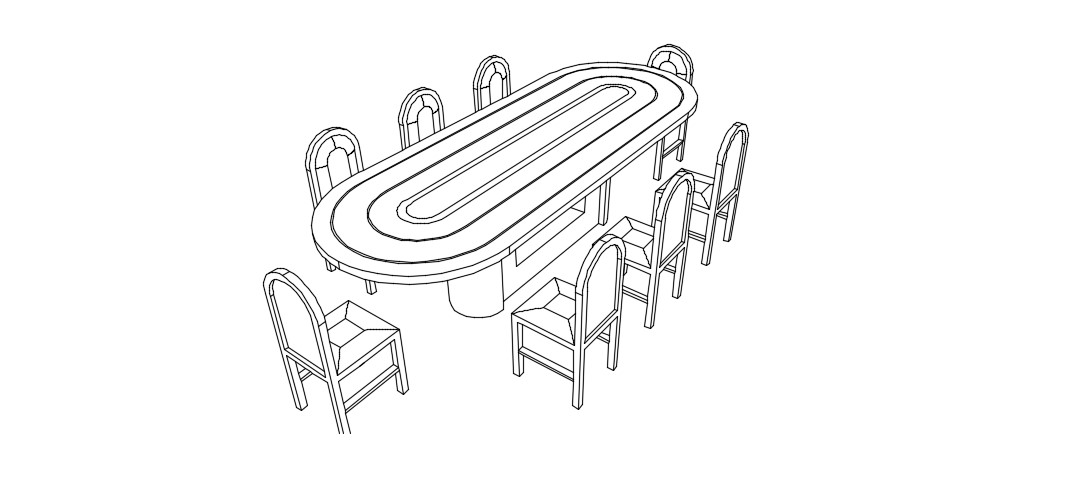 Download Free Dining Table 3D Model In DWG File