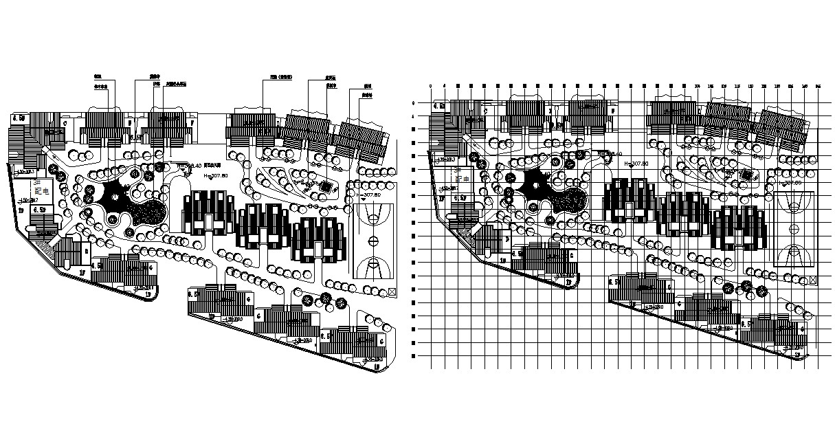 Download Master Plan Of Twin Bungalow AutoCAD File