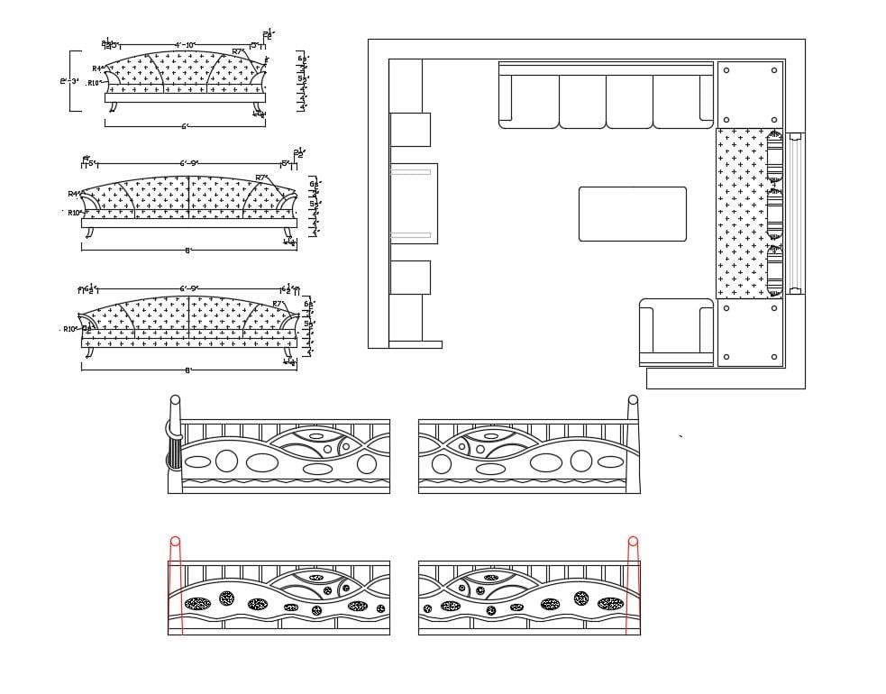 Drawing Room Plan and Furniture Blocks Design of Sofa-Set ...