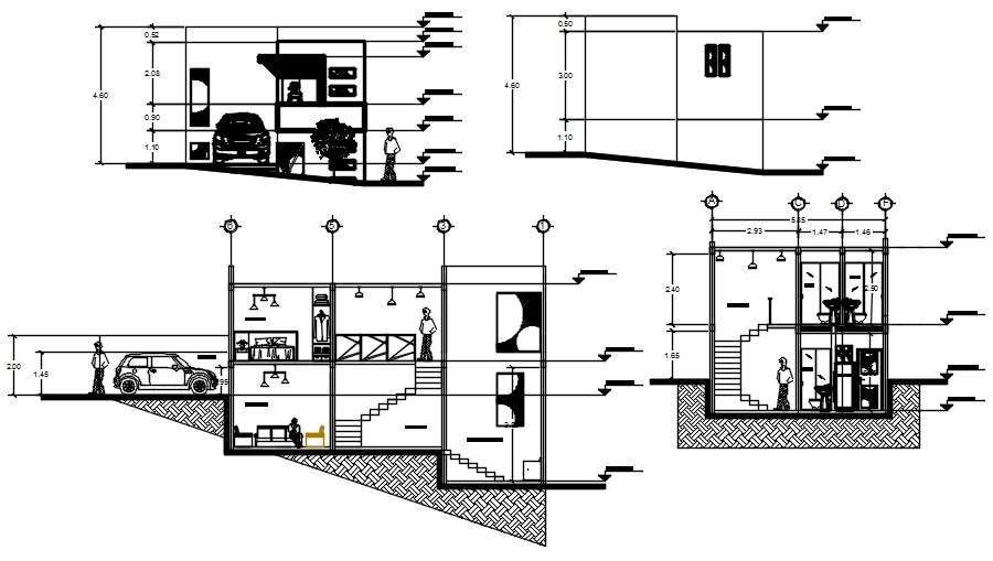 Drawing of House with elevation and section in dwg file