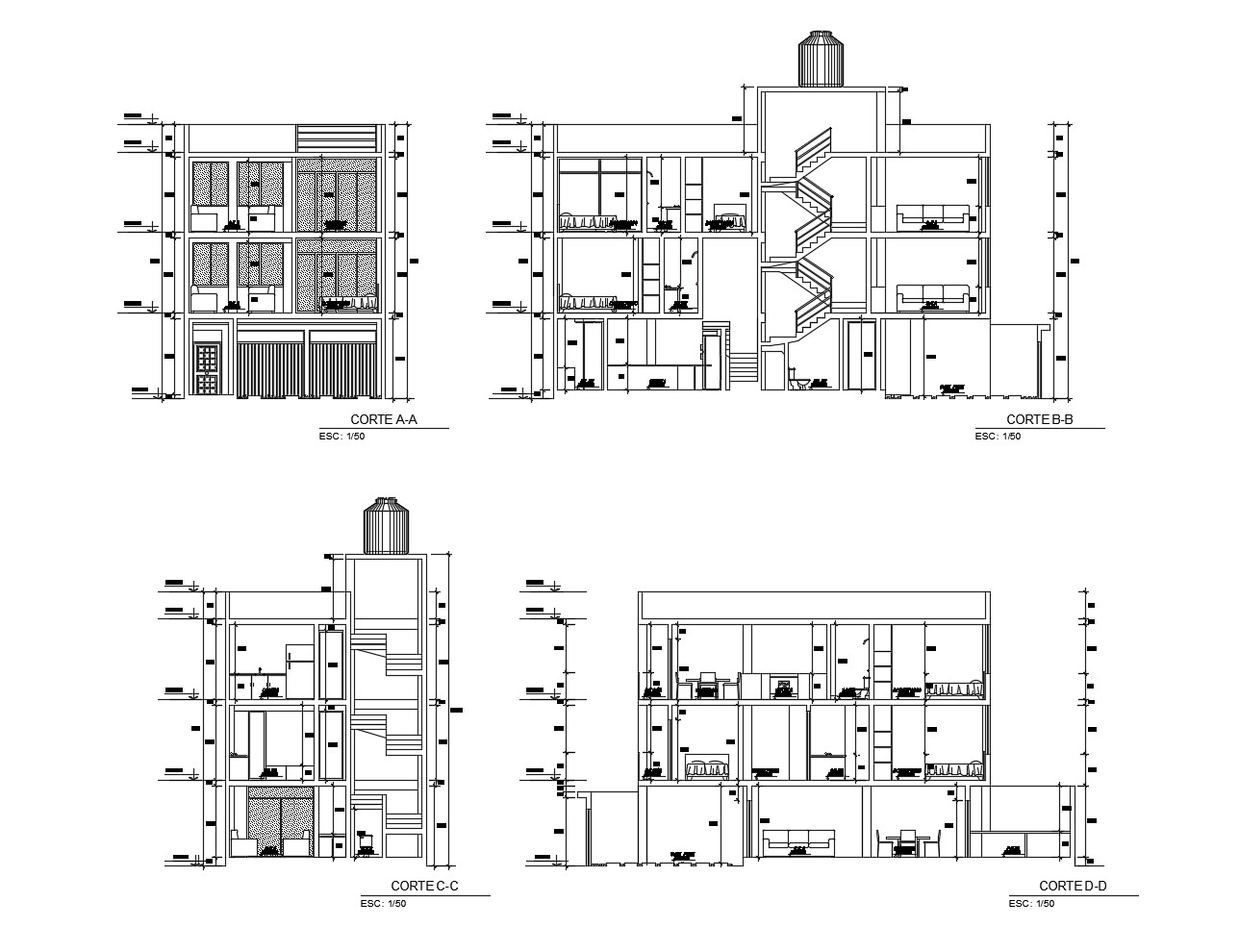 Drawing of a residential apartment in AutoCAD