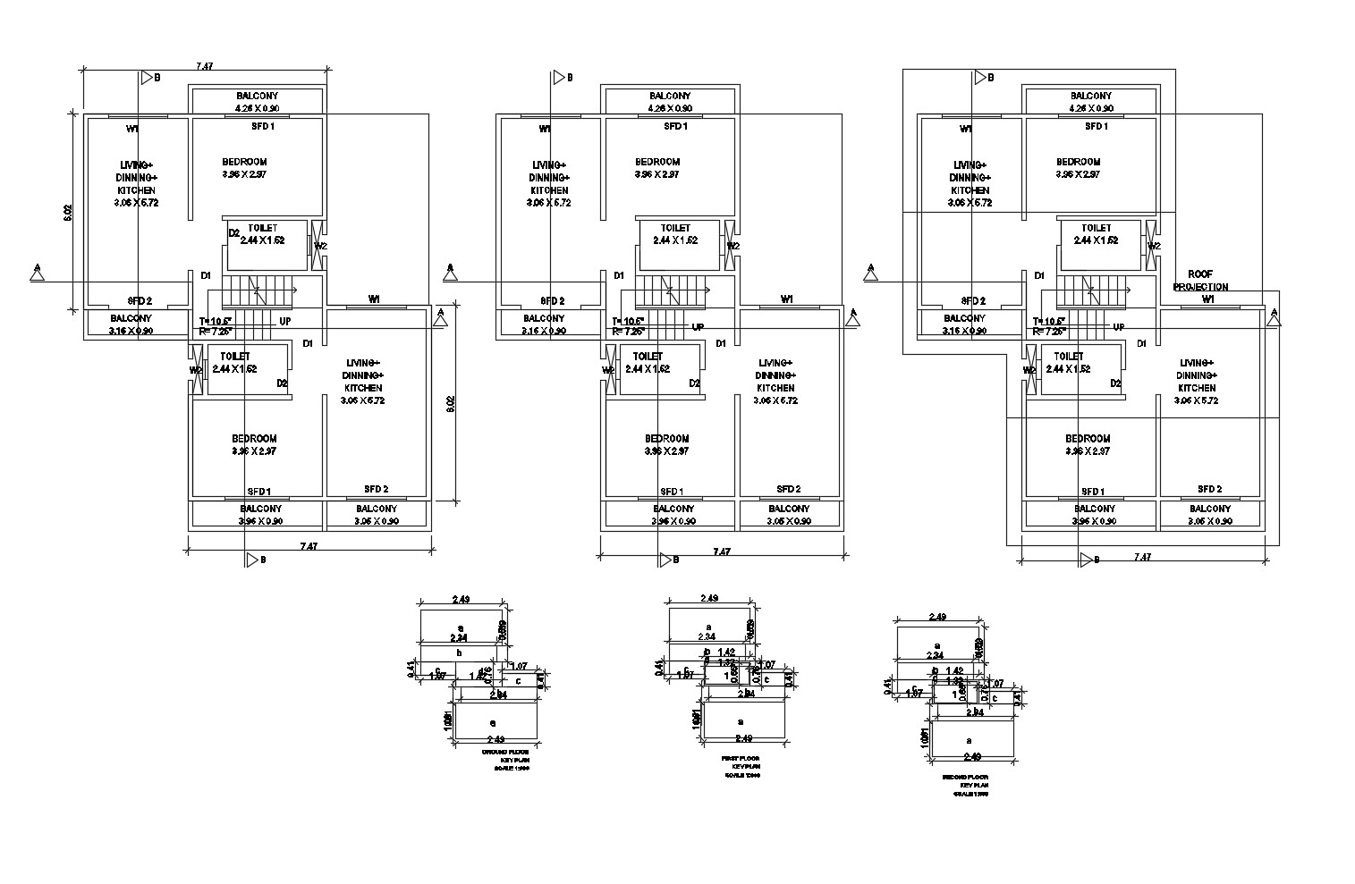 Drawing of a row house with detail dimension in dwg file