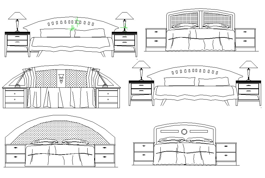 Drawing of bed design in autocad