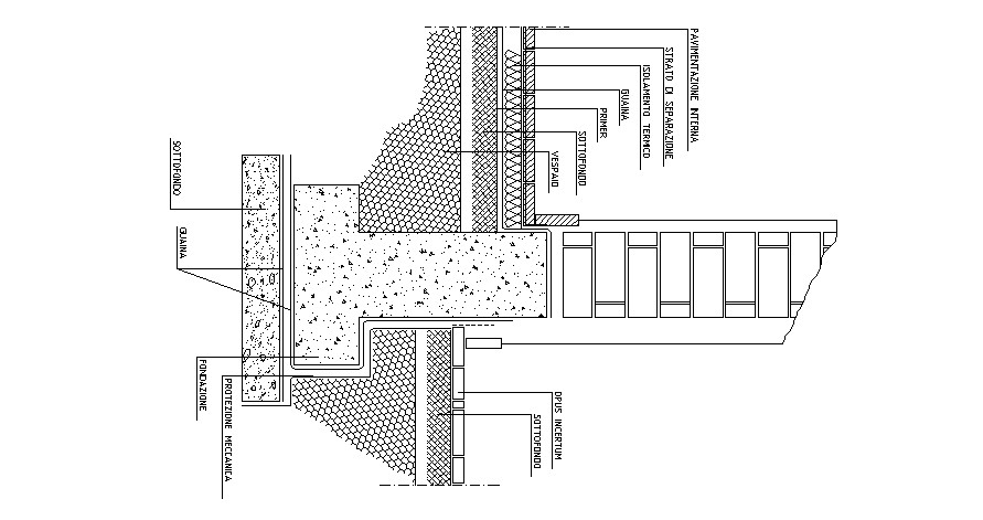 Drawing of foundation structure in autocad