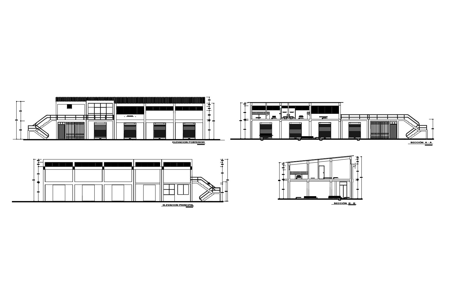 Drawing of office design with elevation and section in AutoCAD