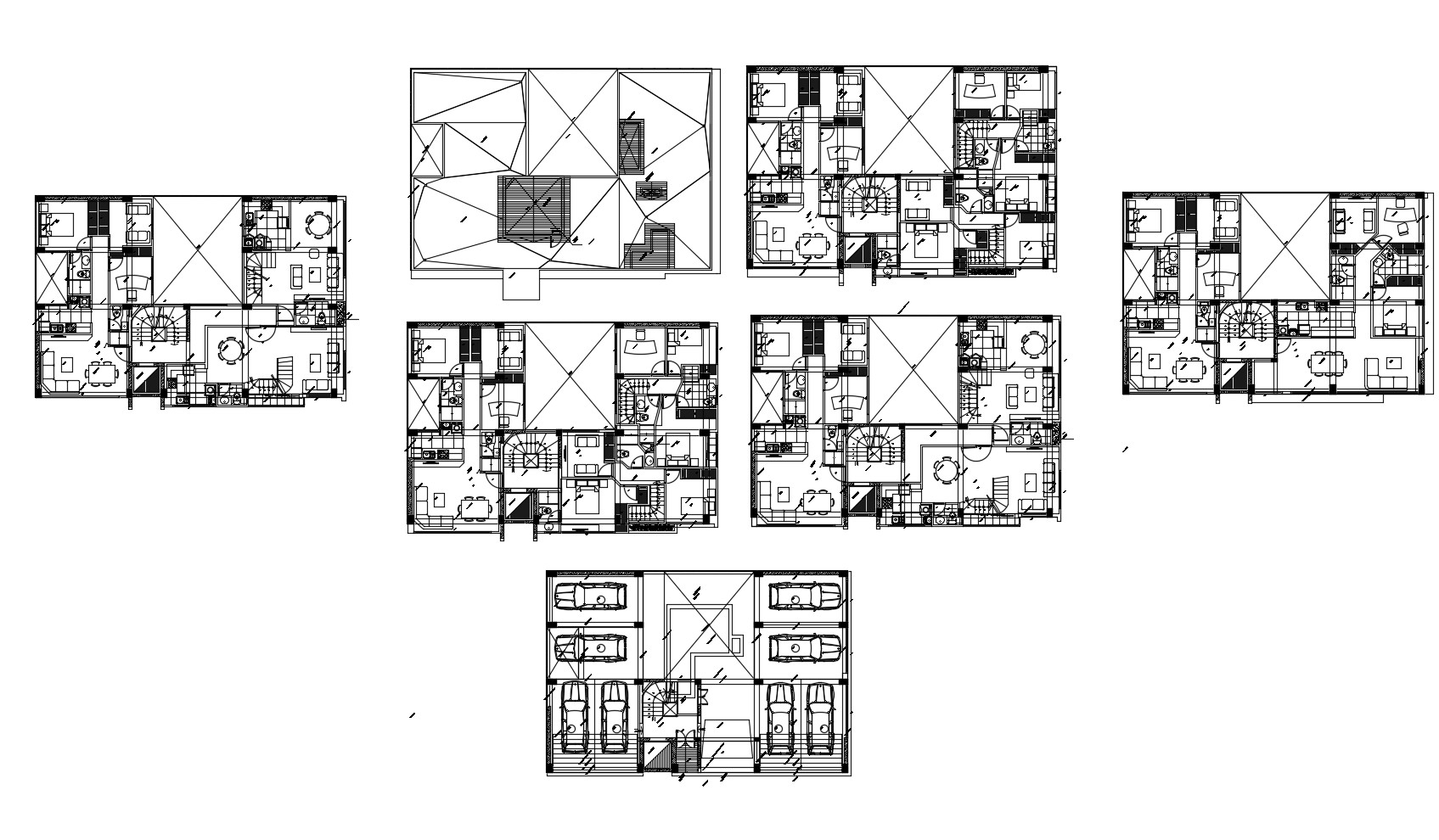 Drawing of residential house plan in dwg file