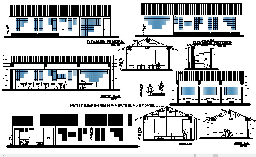 Drawing of school building with detail dimension in autocad