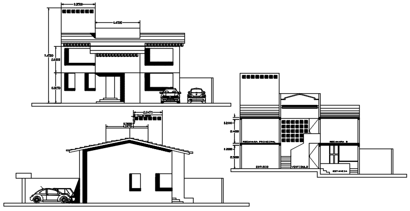 Drawing of the bungalow design in autocad