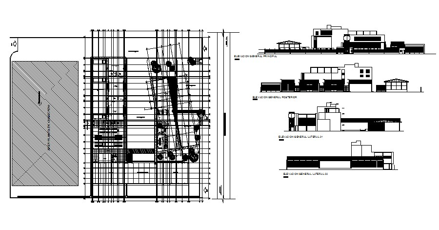 Drawing of the complex with elevation in dwg file
