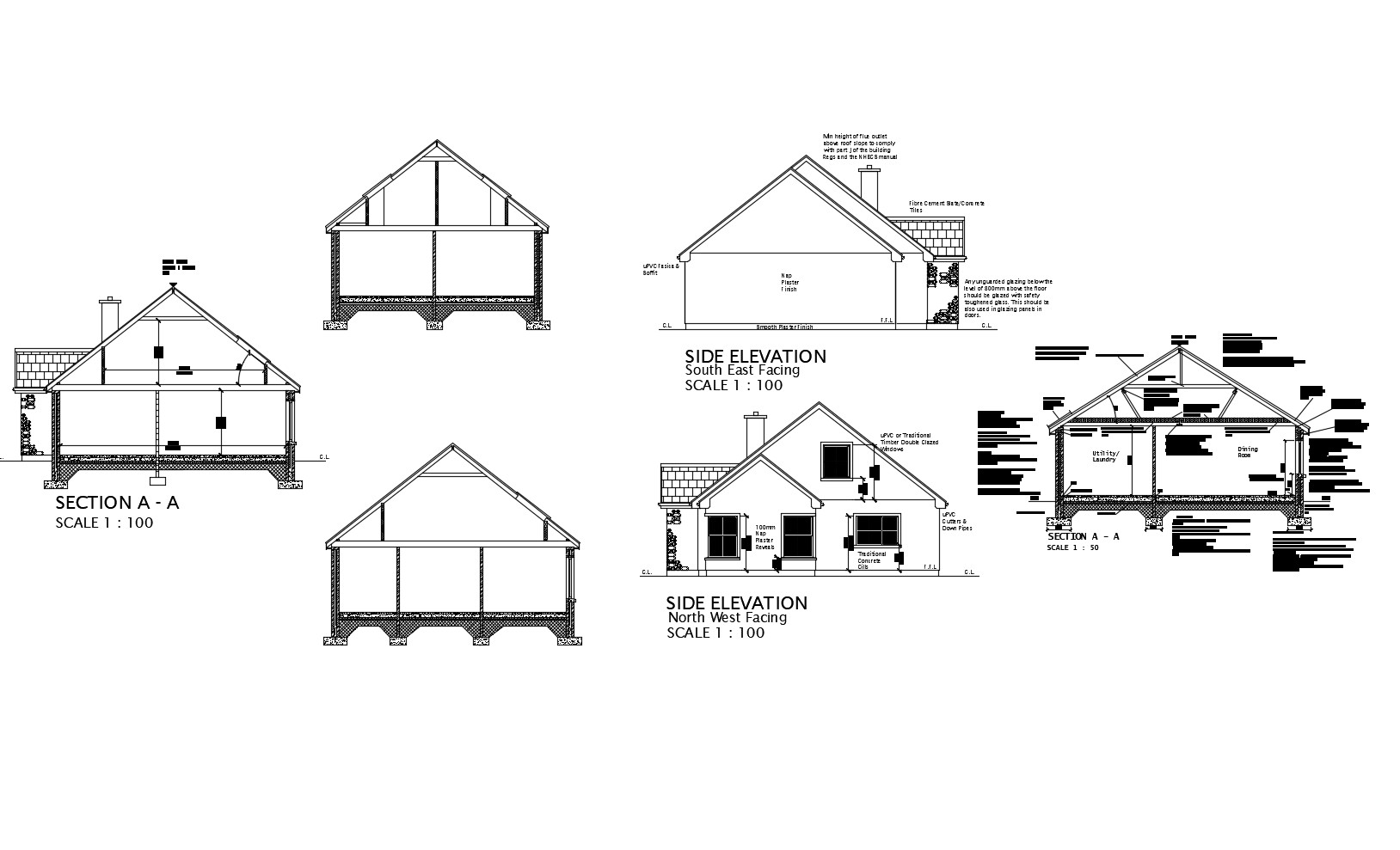 Drawing of the house with different elevation and section in dwg file