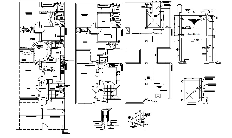 Drawing of the house with electric layout detail in AutoCAD