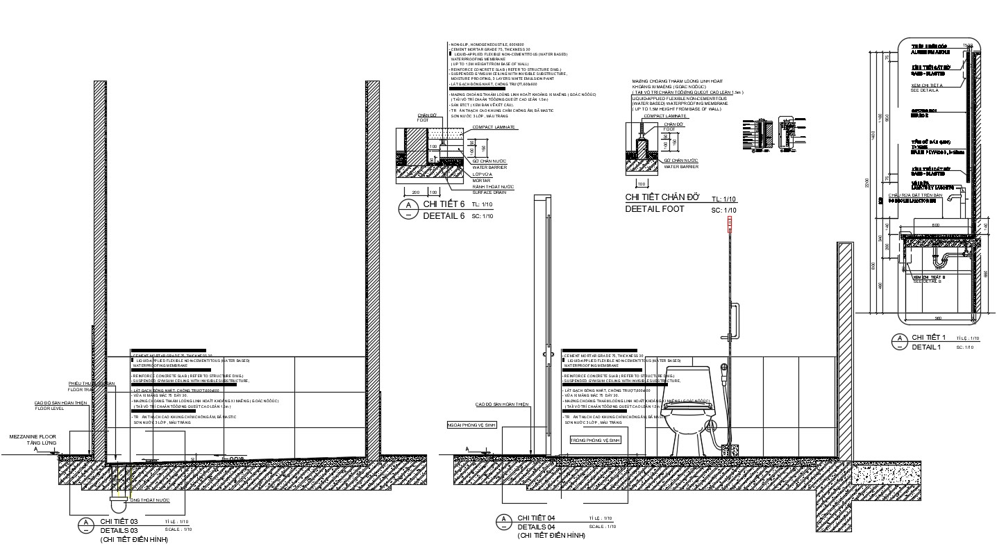 Drawing of the sanitary block in AutoCAD
