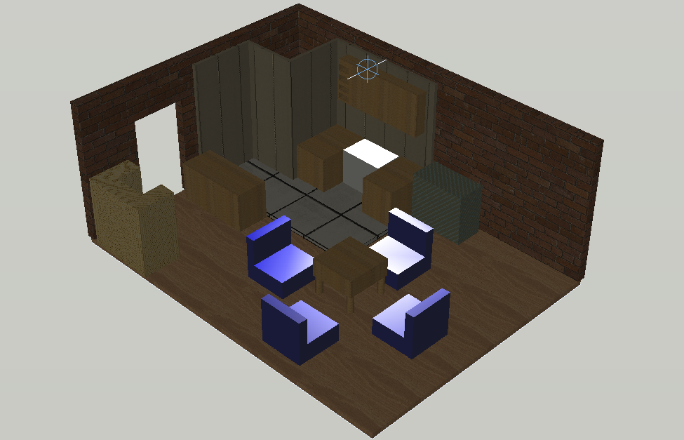 Drawing room interior view of 3d house dwg file