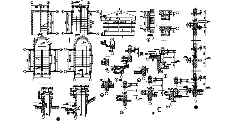 Drawings details of staircase plan dwg file