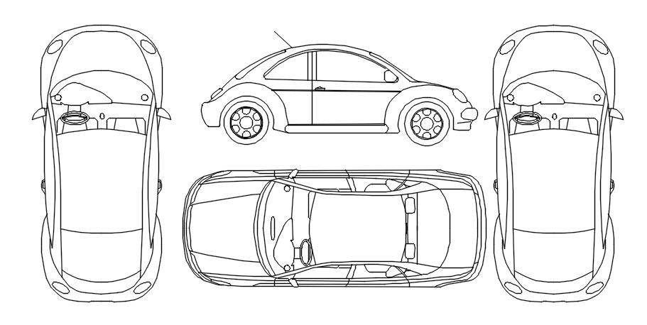 Dwg block of car design in AutoCAD