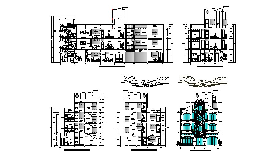Dwg file of Residential Apartment with elevation and section