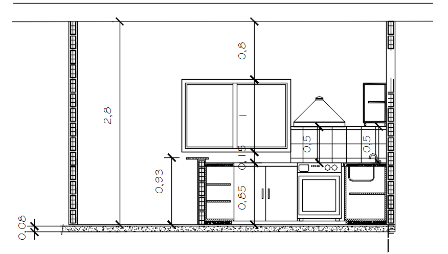 Dwg file of kitchen section