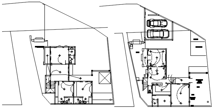 Dwg file of residential bungalow electrical plan