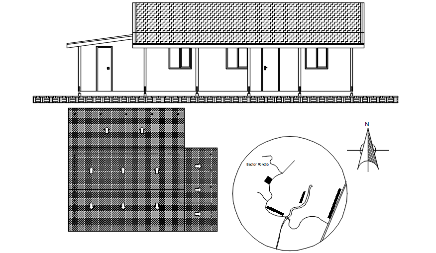 Dwg file of sectional elevations of bungalow