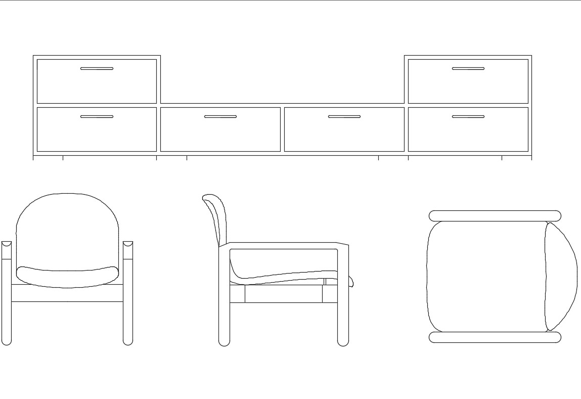 Dynamic cabinet and chair blocks cad drawing details dwg file