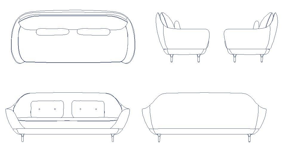 Dynamic sofa set elevation block cad drawing details dwg file