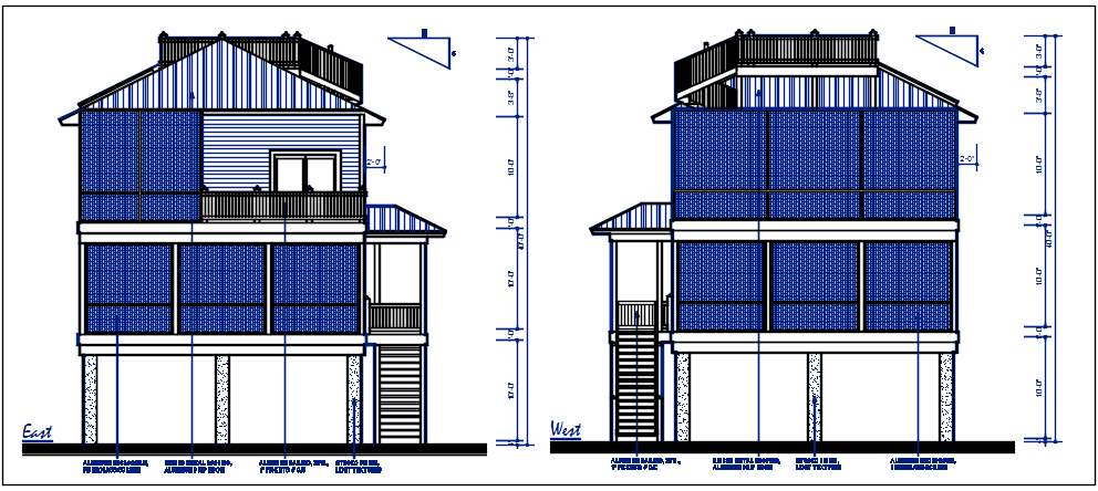East and west elevation detail dwg file