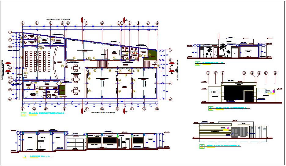 Educations center plan view, sectional & elevation view with interior view dwg file