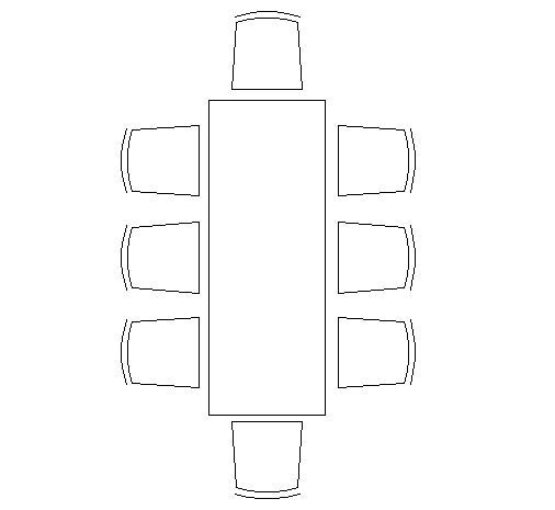 Eight seats long dining table cad block design dwg file