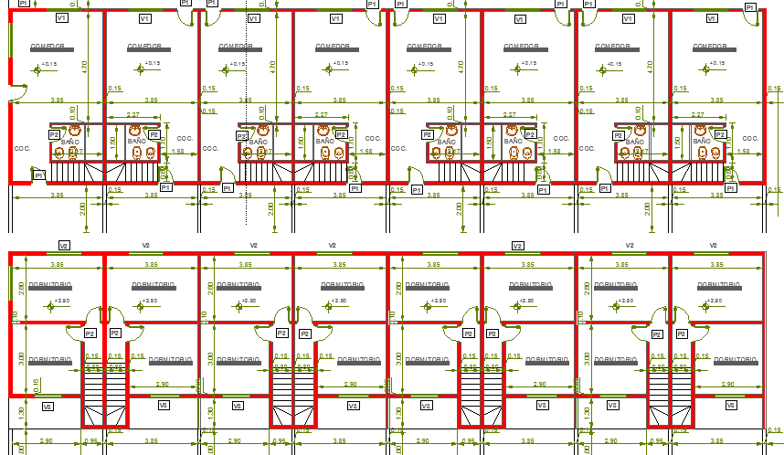 Eight units group habitation architecture structure details dwg file