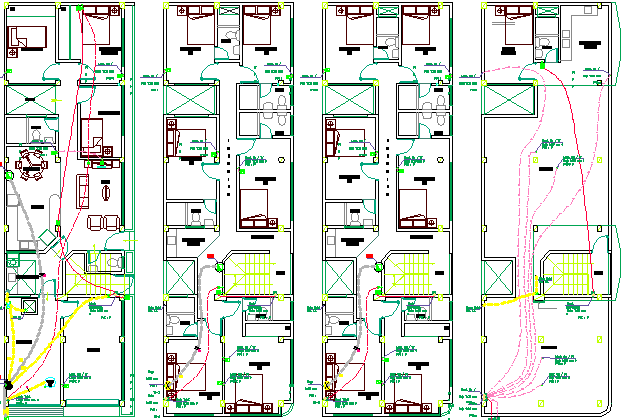 Electric Installation of Four Floors of Housing Project dwg file