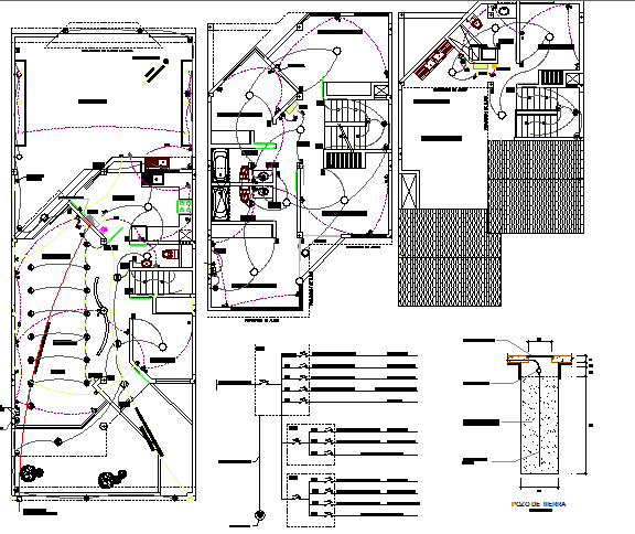 Electric installation details of single family house with plan dwg file