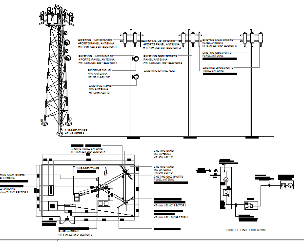 Electric installation of three legged tower design dwg file