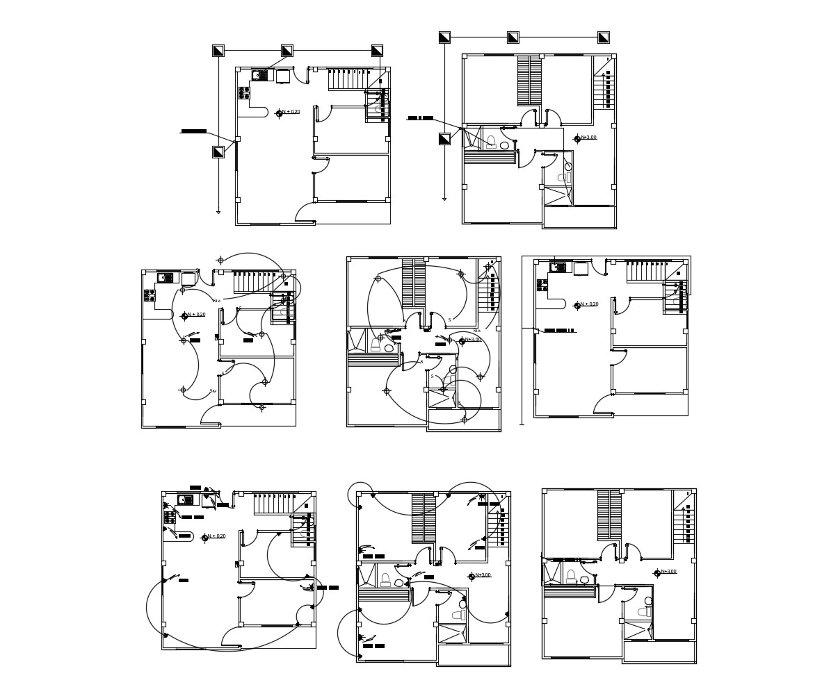 Electric layout plan of house with detail dimension in dwg file
